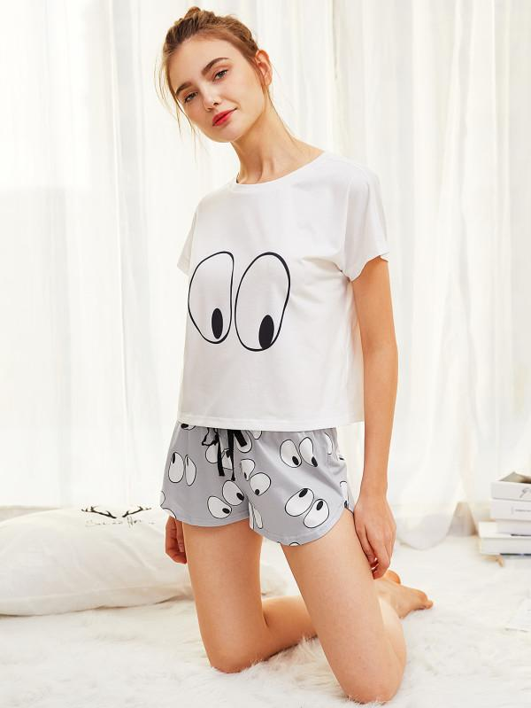a6c4997aed Buy SHEIN Cartoon Eye Print Tee And Shorts Pajama Set Online in ...
