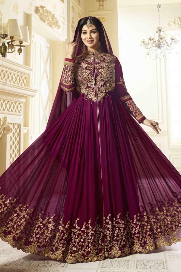 3de5be90af Buy Ayesha Takia Georgette Anarkali Suit In Purple Colour Online in ...