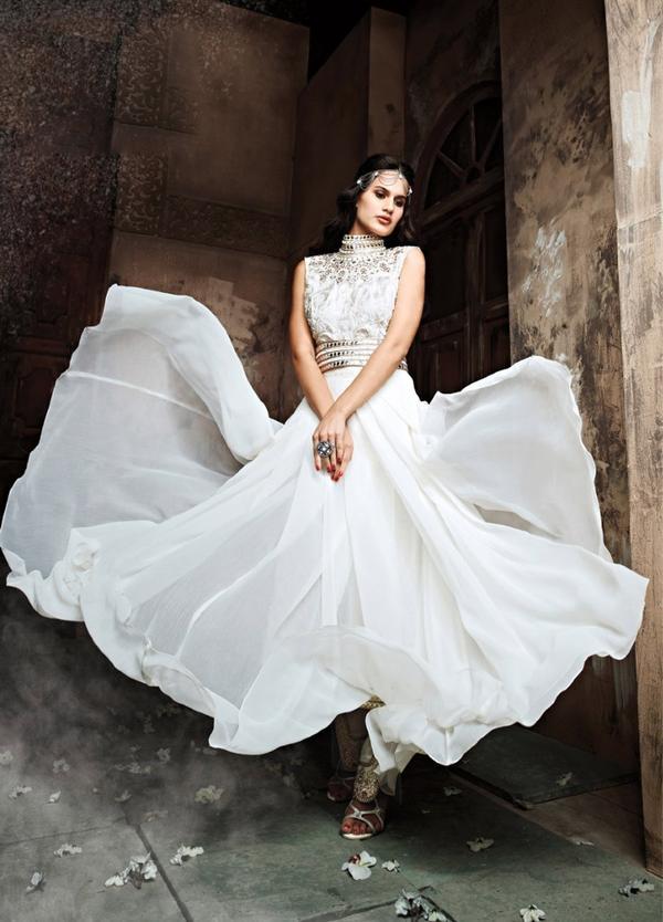 Buy Off White Pakistani Designer Jacket Style Anarkali Suit Online