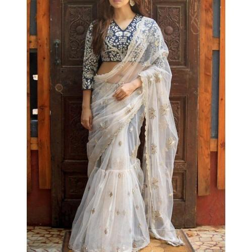 Buy Maruti Fashion Net White Embroidered Saree Online In India At