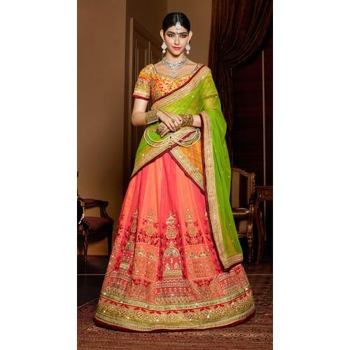 3b005af4df4 Peach Color Silk Hand Craft Bridal Lehenga With Semi-stitched Designer Choli  Image