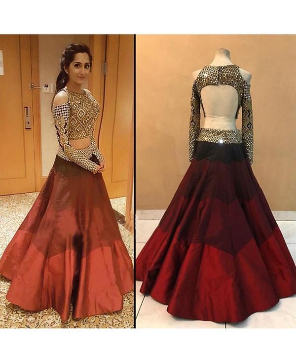 4e16ae9974 Astha Bridal - Umbrella Maroon Raw Silk Semi Stitched Lehenga Choli Image