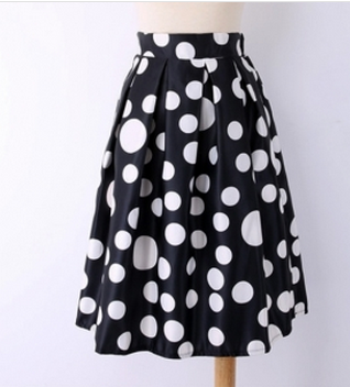 d7086385d4 Fashion Women Polka Dots Print Elastic High Waist Pleated Midi Skirt Image
