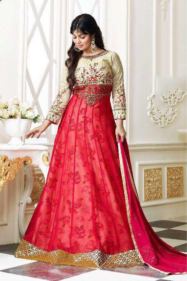 6c12d30eb8 Buy Ayesha Takia Georgette Anarkali Suit In Cream And Pink Colour ...