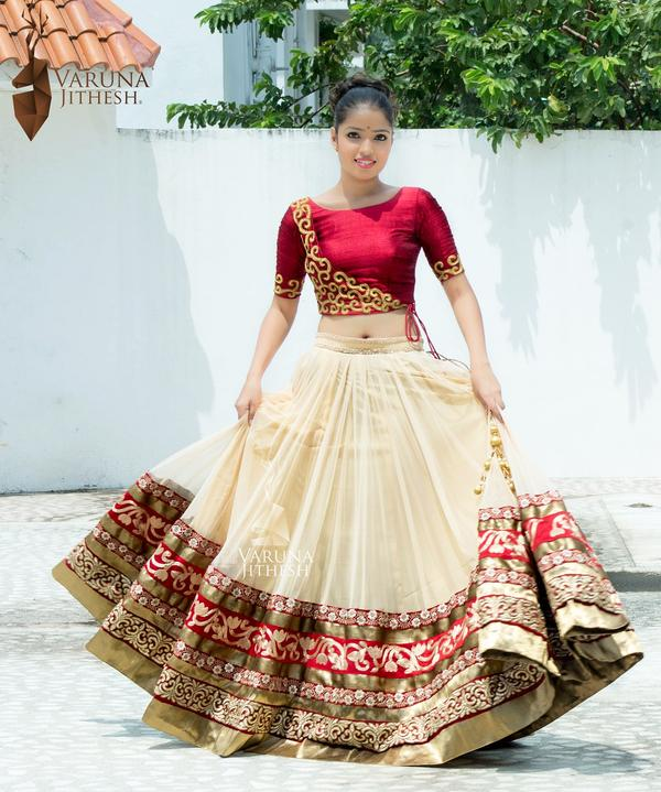 364ab19a025 Buy Cream And Red Lehenga Online in India at cooliyo   coolest ...
