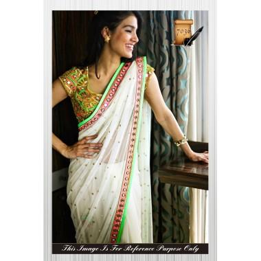 fc9c8be886 Buy White Mirror work Butti work saree Online in India at cooliyo ...