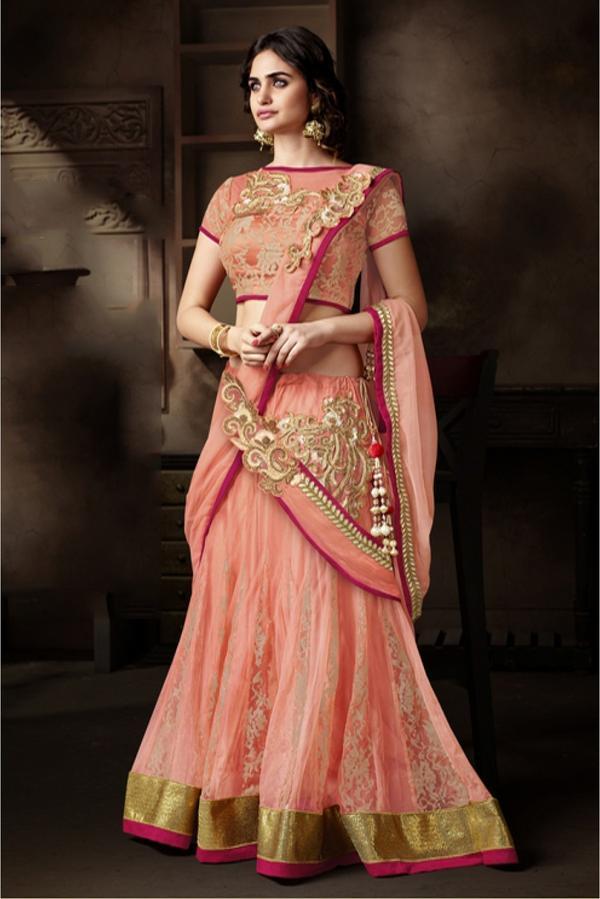 ce83ca391a Buy Net and Jacquard Designer Lehenga Choli in Dark Peach Colour ...