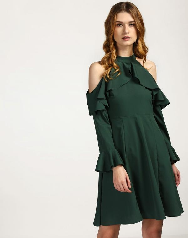 ed6610f0a1 Buy Green Regan Cold Shoulder Ruffle Dress Online in India at ...