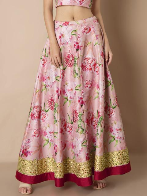 7301670c9a Buy INDYA Women Pink Floral Print A-line Maxi Skirt Online in India ...