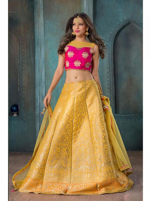 e64ac01cbb Buy Yellow Color Jacquard Thread Work Designer Lehenga Choli Online ...