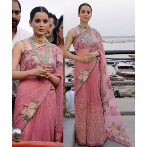 6c09fac543 Buy Kangana Ranaut Net Peach Embroidered Bollywood Designer Saree ...