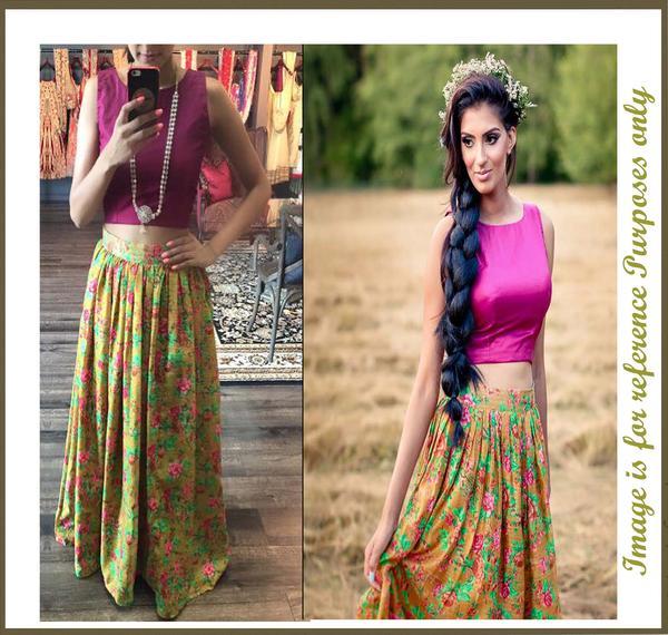 92d0c2020dc9 Buy Floral print bhagalpuri skirt with raw silk crop top Online in ...